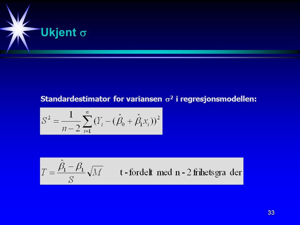 Ukjent  Standardestimator for variansen 2 i regresjonsmodellen: