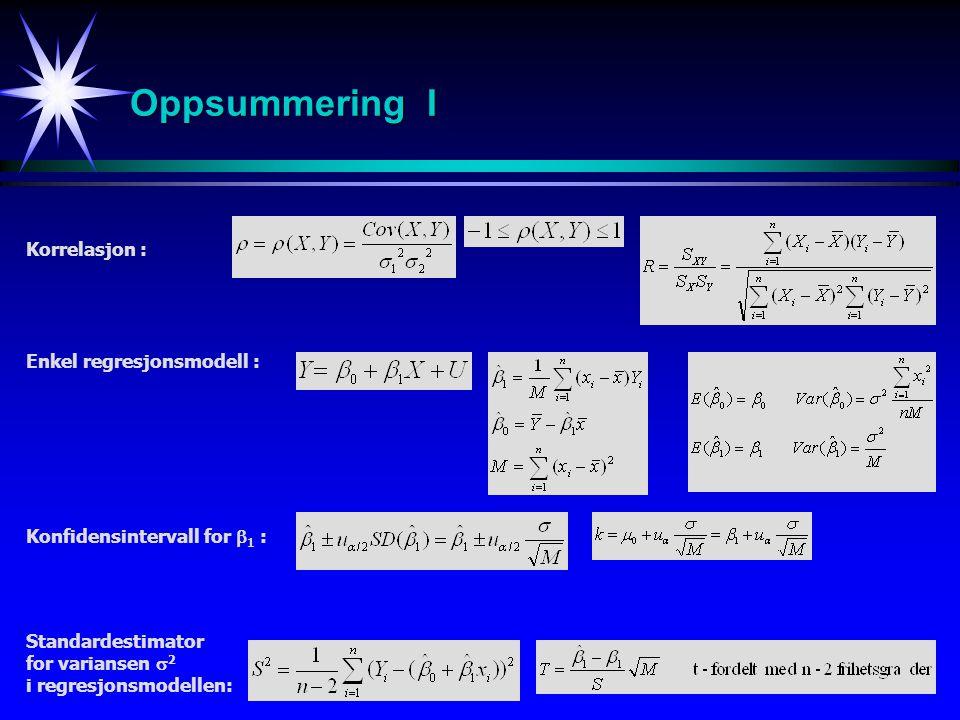 Oppsummering I Korrelasjon : Enkel regresjonsmodell :