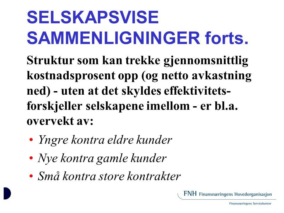 SELSKAPSVISE SAMMENLIGNINGER forts.