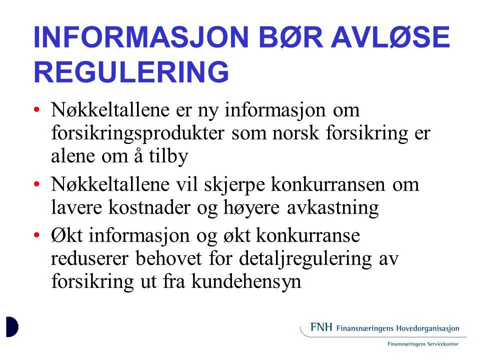 INFORMASJON BØR AVLØSE REGULERING