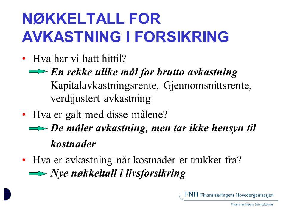 NØKKELTALL FOR AVKASTNING I FORSIKRING