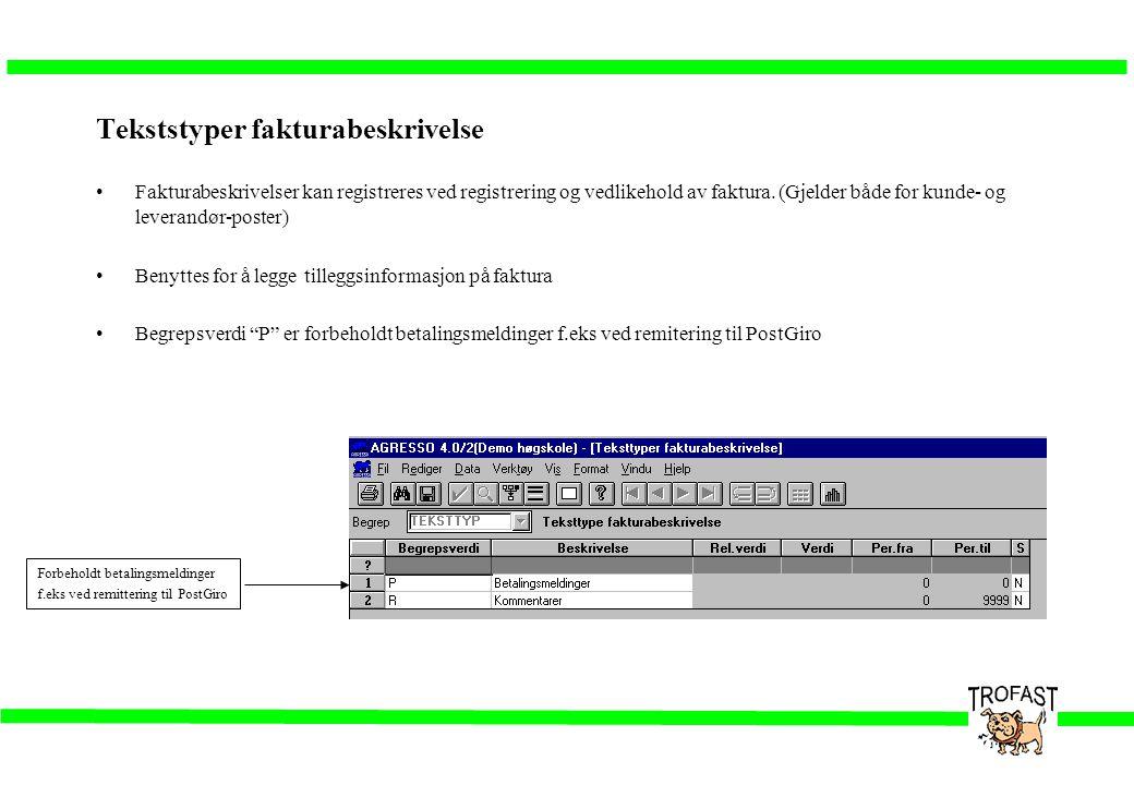 Tekststyper fakturabeskrivelse