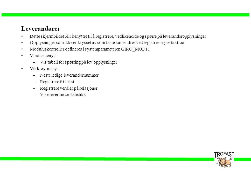 Leverandører Dette skjermbildet blir benyttet til å registrere, vedlikeholde og spørre på leverandøropplysninger.