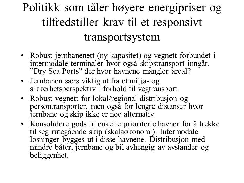 Politikk som tåler høyere energipriser og tilfredstiller krav til et responsivt transportsystem