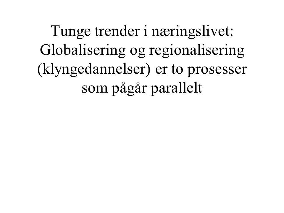 Tunge trender i næringslivet: Globalisering og regionalisering (klyngedannelser) er to prosesser som pågår parallelt