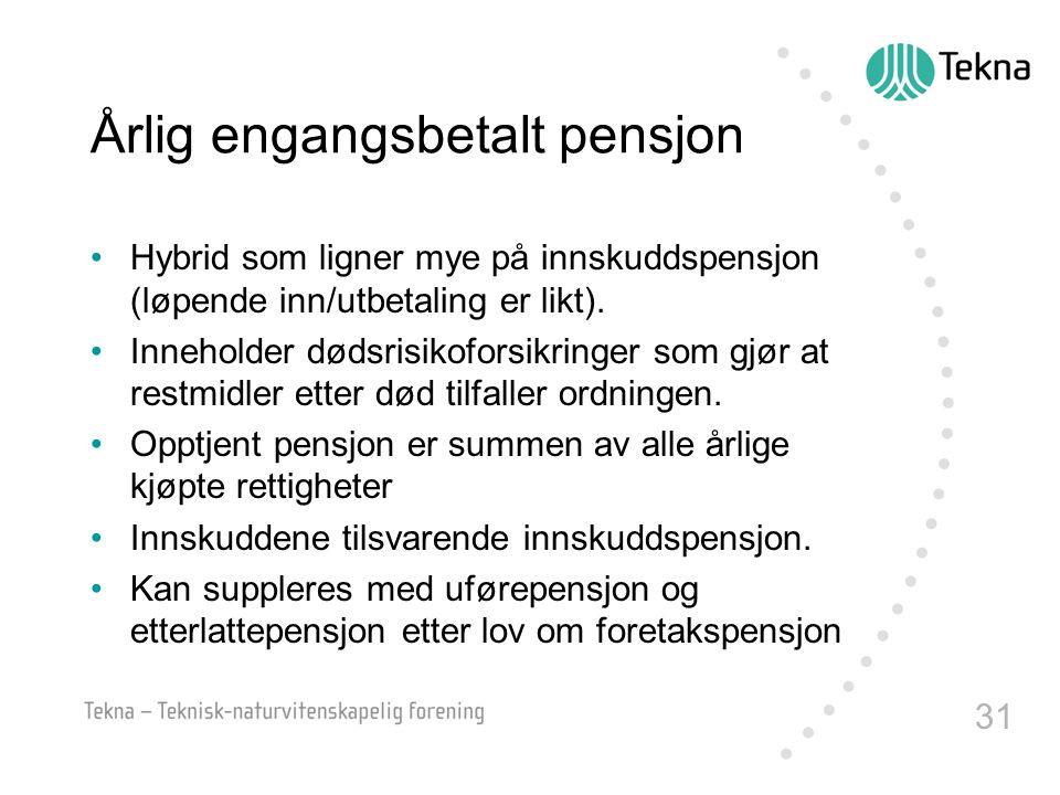 Årlig engangsbetalt pensjon