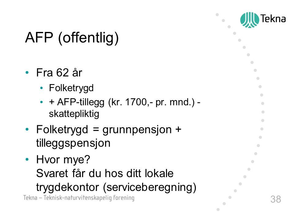 AFP (offentlig) Fra 62 år Folketrygd = grunnpensjon + tilleggspensjon