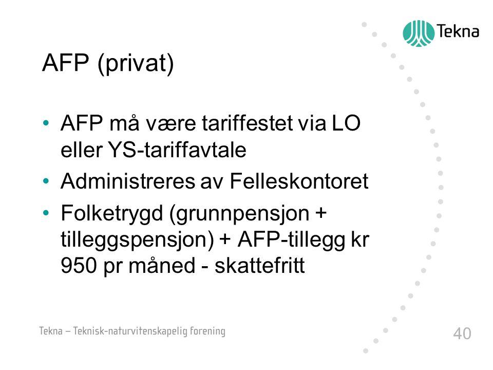 AFP (privat) AFP må være tariffestet via LO eller YS-tariffavtale