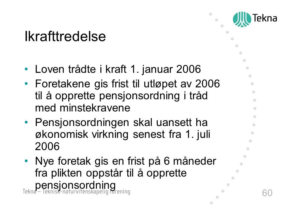 Ikrafttredelse Loven trådte i kraft 1. januar 2006