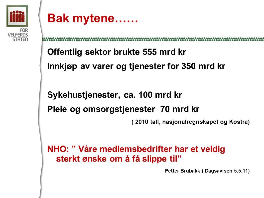 Bak mytene…… Offentlig sektor brukte 555 mrd kr