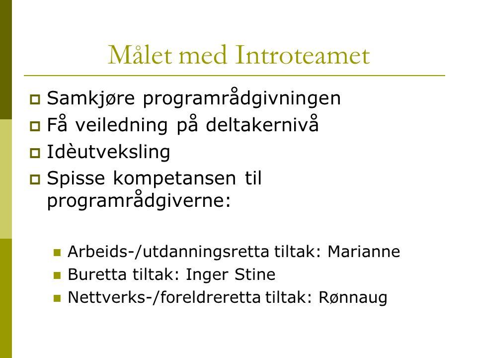 Målet med Introteamet Samkjøre programrådgivningen