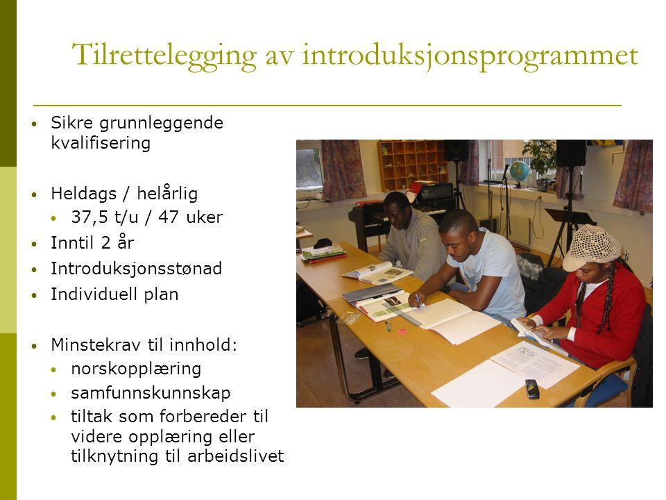 Tilrettelegging av introduksjonsprogrammet