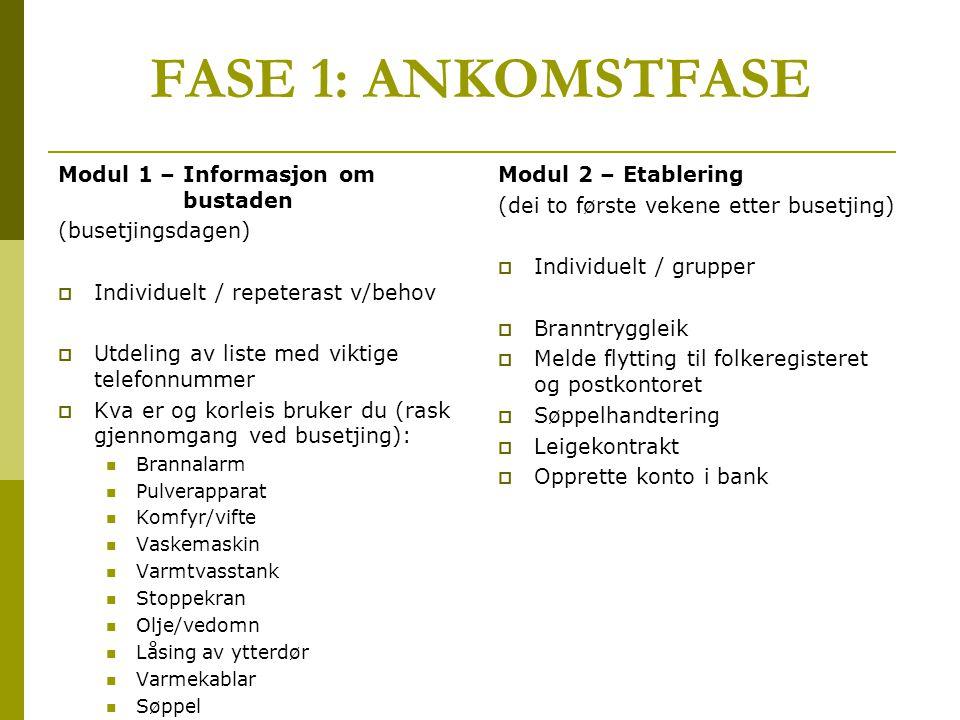 FASE 1: ANKOMSTFASE Modul 1 – Informasjon om bustaden