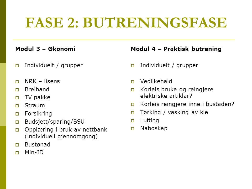 FASE 2: BUTRENINGSFASE Modul 3 – Økonomi Individuelt / grupper