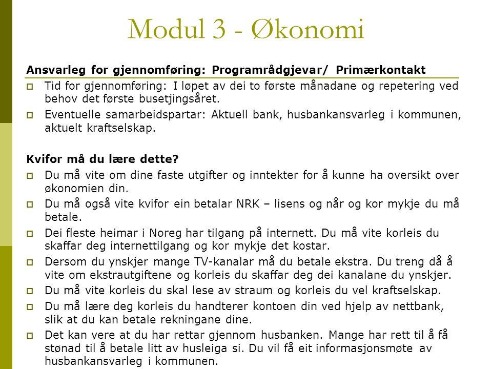 Modul 3 - Økonomi Ansvarleg for gjennomføring: Programrådgjevar/ Primærkontakt.
