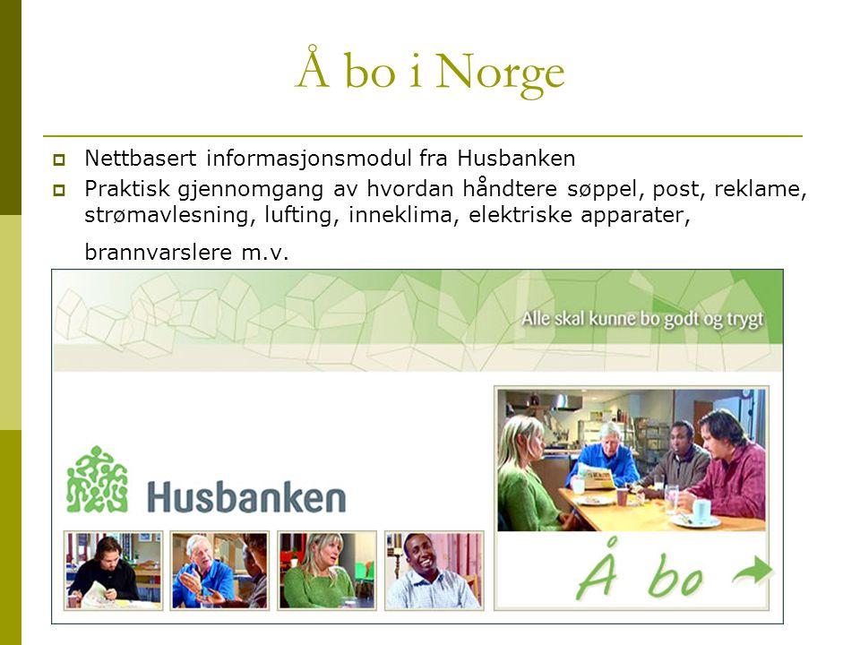 Å bo i Norge Nettbasert informasjonsmodul fra Husbanken