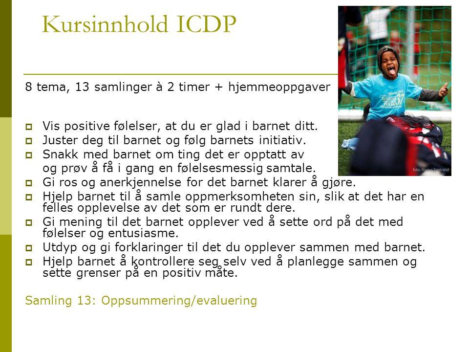 Kursinnhold ICDP 8 tema, 13 samlinger à 2 timer + hjemmeoppgaver