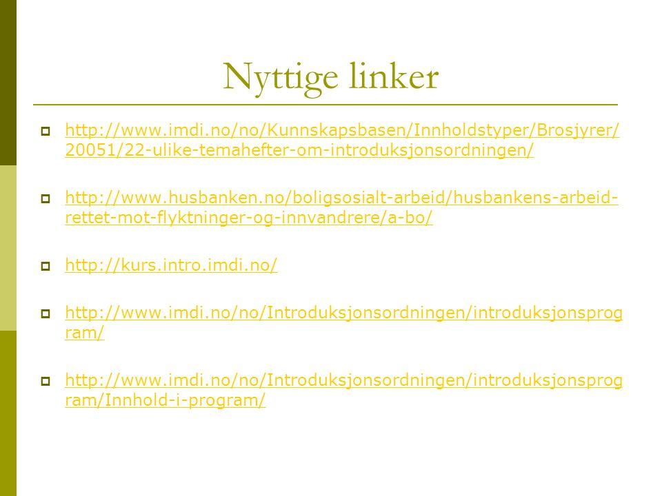 Nyttige linker http://www.imdi.no/no/Kunnskapsbasen/Innholdstyper/Brosjyrer/20051/22-ulike-temahefter-om-introduksjonsordningen/