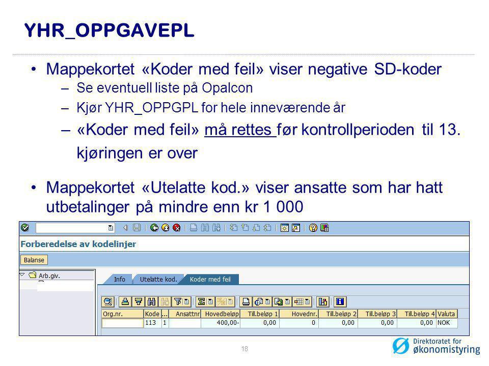 YHR_OPPGAVEPL Mappekortet «Koder med feil» viser negative SD-koder