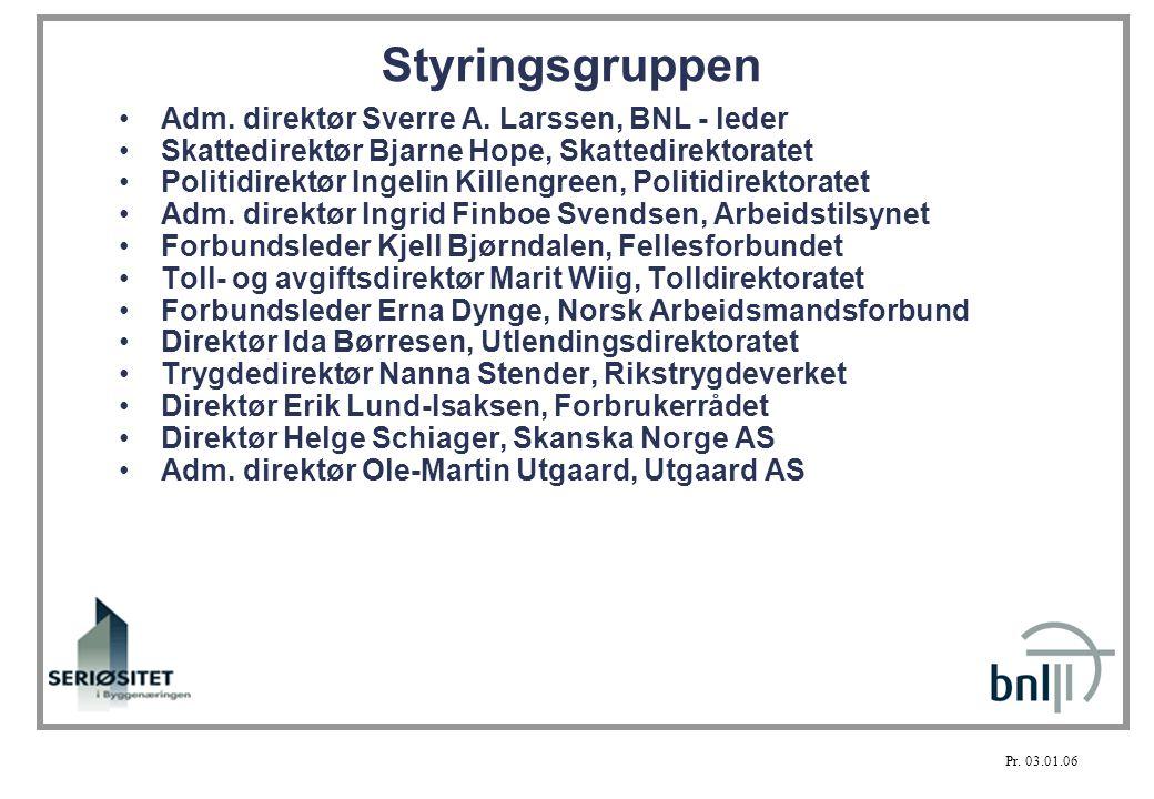 Styringsgruppen Adm. direktør Sverre A. Larssen, BNL - leder