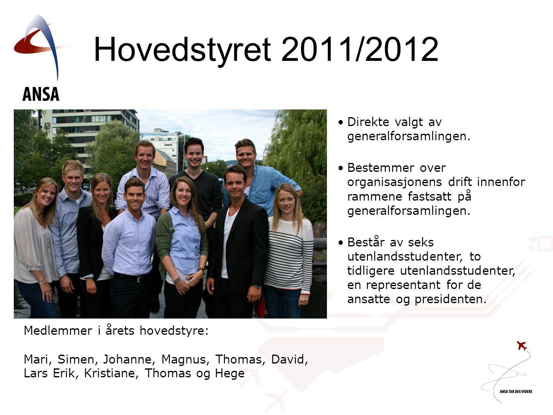 Hovedstyret 2011/2012 Direkte valgt av generalforsamlingen.