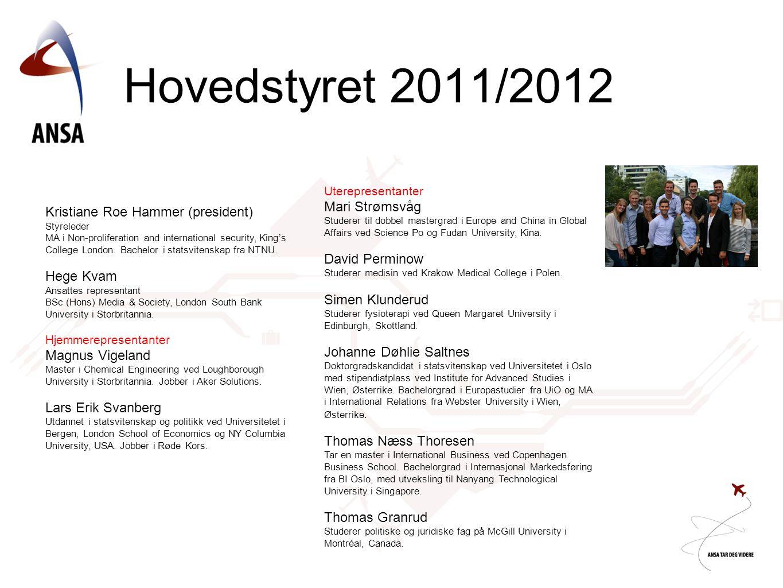 Hovedstyret 2011/2012 Mari Strømsvåg Kristiane Roe Hammer (president)