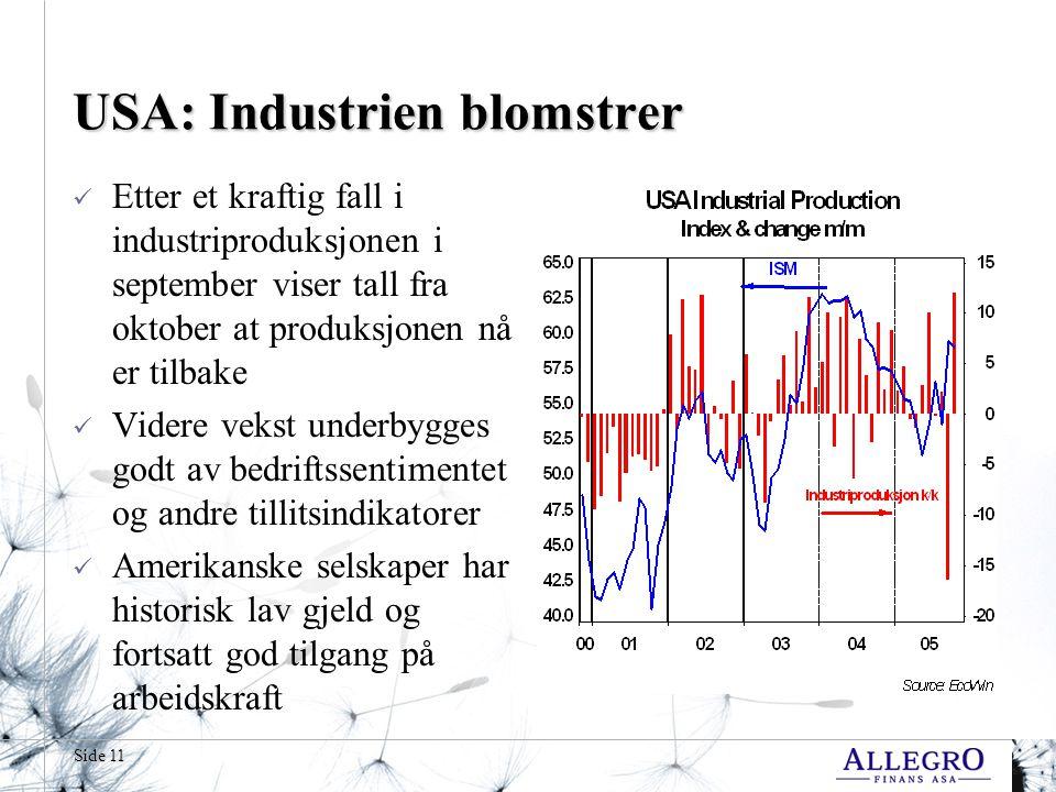 USA: Industrien blomstrer