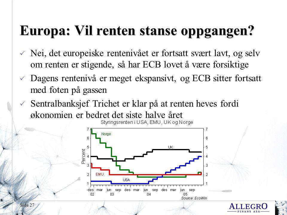 Europa: Vil renten stanse oppgangen
