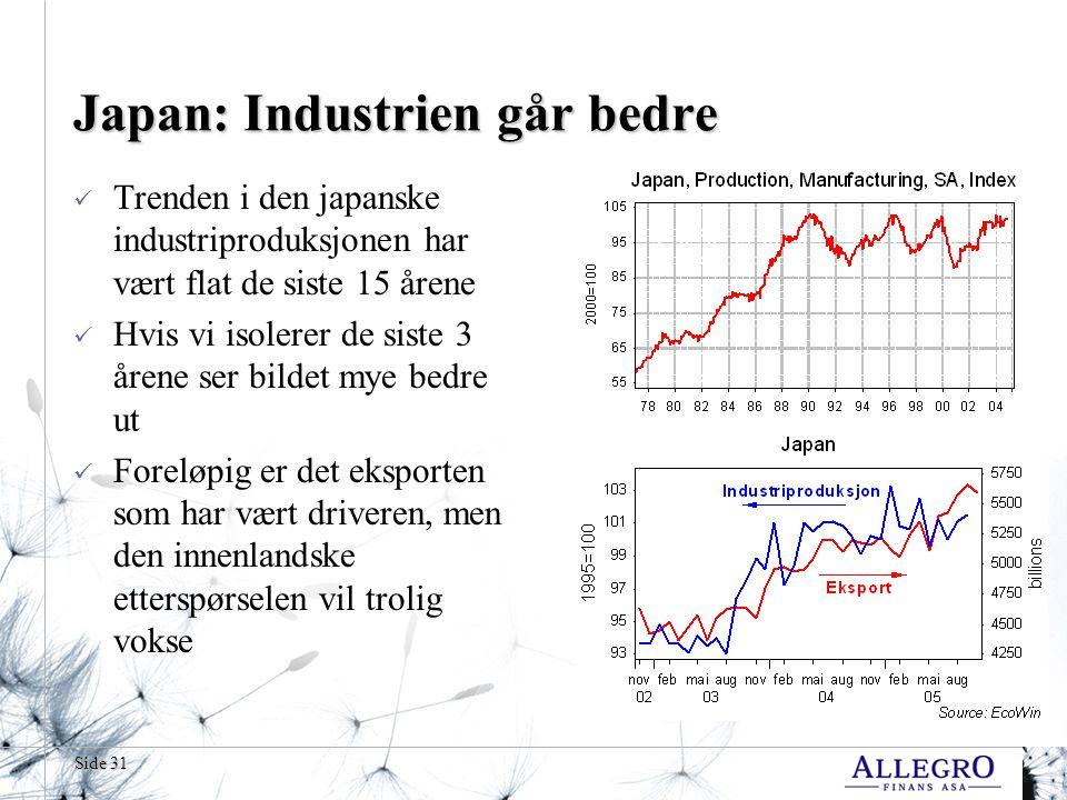 Japan: Industrien går bedre