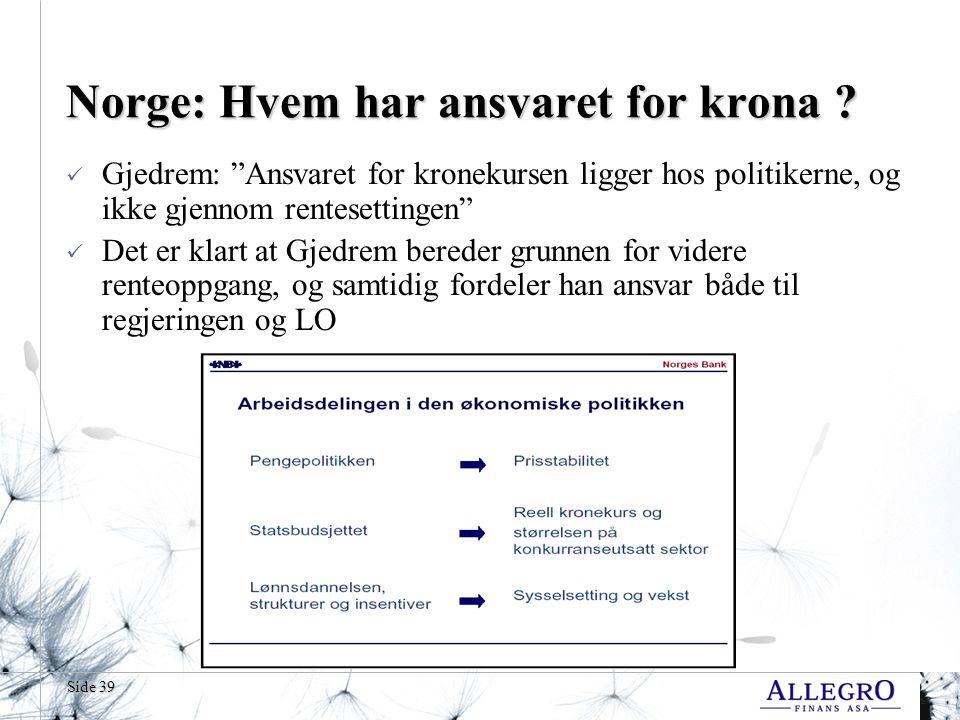 Norge: Hvem har ansvaret for krona