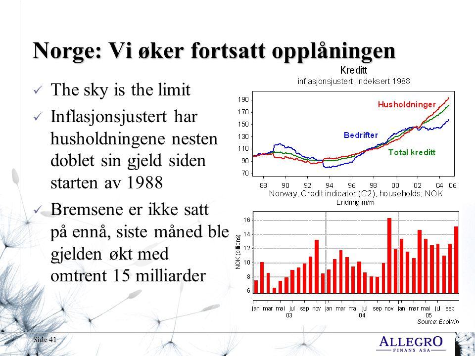 Norge: Vi øker fortsatt opplåningen