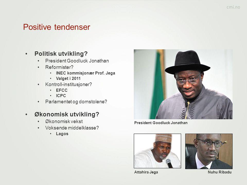 Positive tendenser Politisk utvikling Økonomisk utvikling