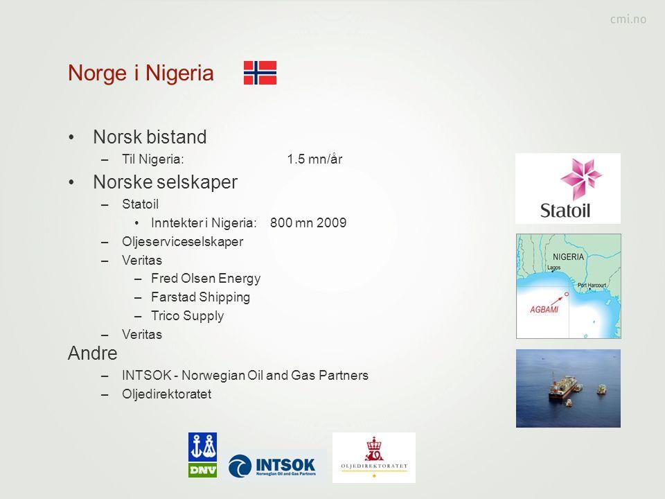 Norge i Nigeria Norsk bistand Norske selskaper Andre