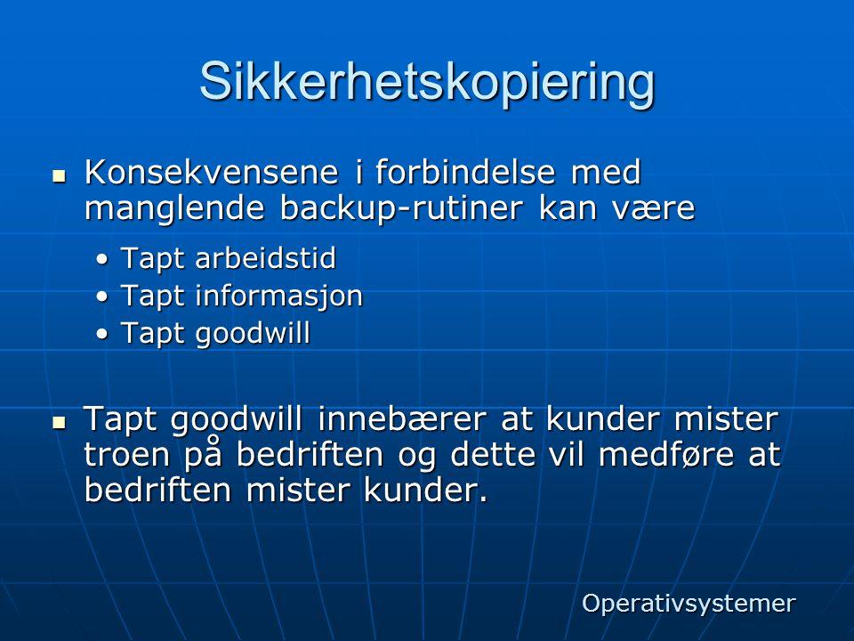 Sikkerhetskopiering Konsekvensene i forbindelse med manglende backup-rutiner kan være. Tapt arbeidstid.