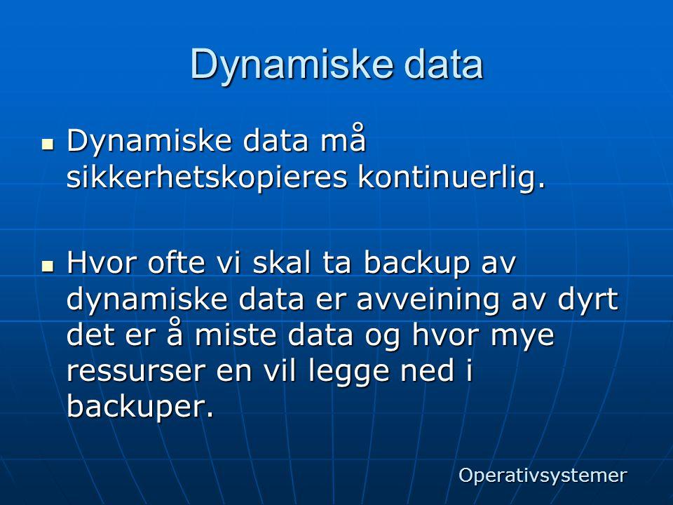 Dynamiske data Dynamiske data må sikkerhetskopieres kontinuerlig.