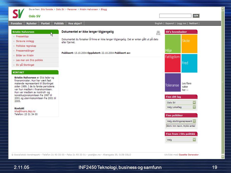 INF2450 Teknologi, business og samfunn