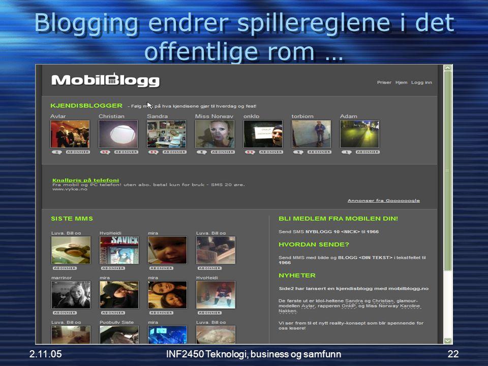 Blogging endrer spillereglene i det offentlige rom …