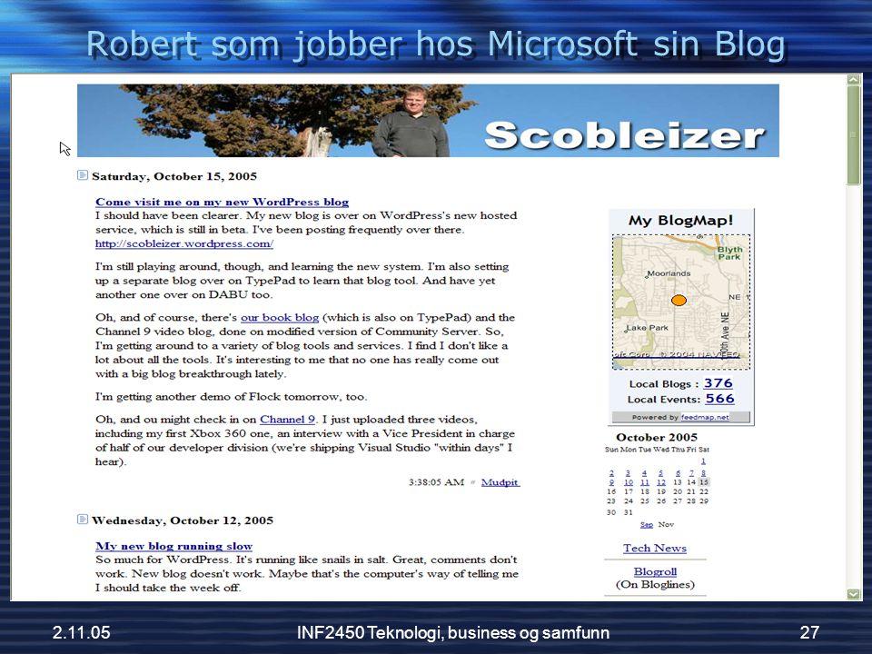 Robert som jobber hos Microsoft sin Blog