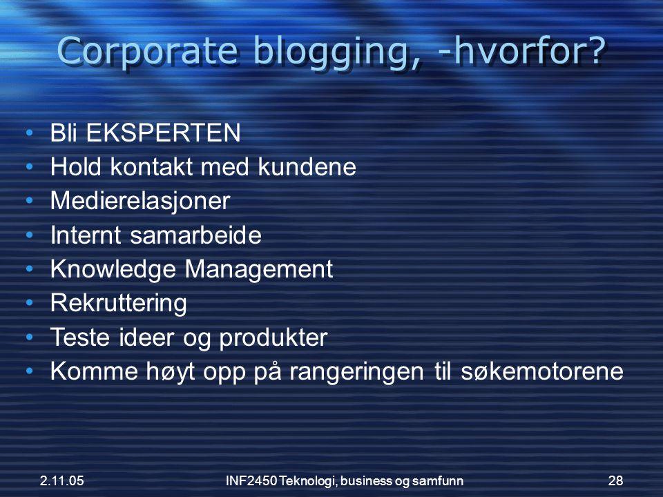 Corporate blogging, -hvorfor