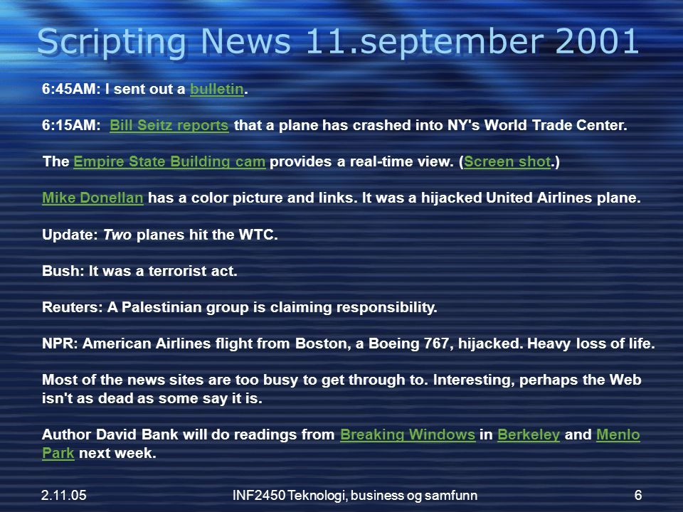 Scripting News 11.september 2001