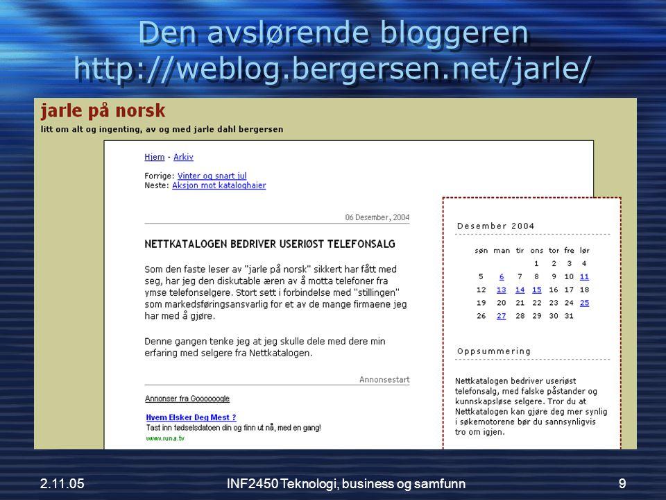 Den avslørende bloggeren http://weblog.bergersen.net/jarle/
