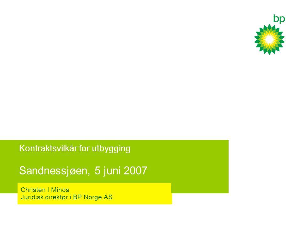 Kontraktsvilkår for utbygging Sandnessjøen, 5 juni 2007