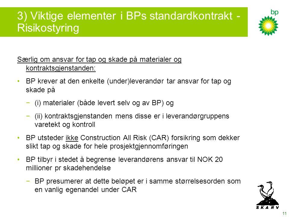 3) Viktige elementer i BPs standardkontrakt - Risikostyring