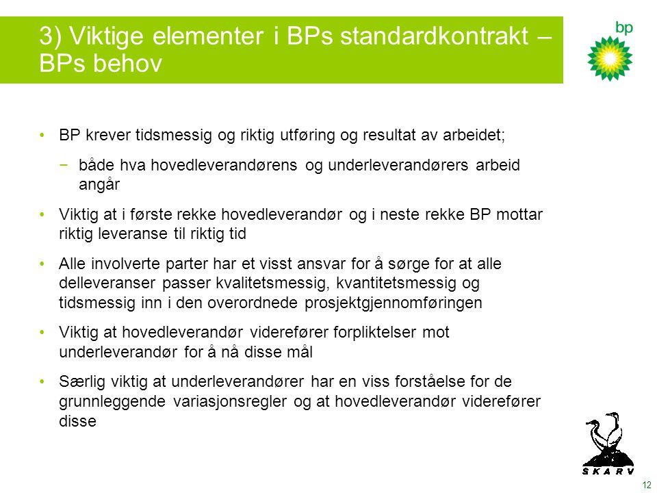 3) Viktige elementer i BPs standardkontrakt – BPs behov