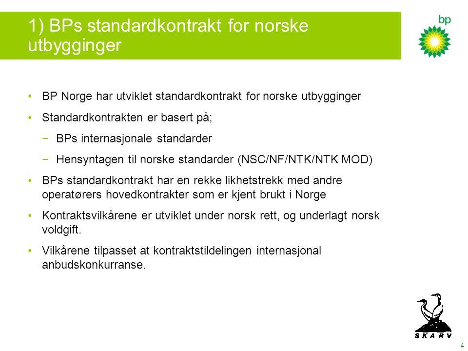 1) BPs standardkontrakt for norske utbygginger