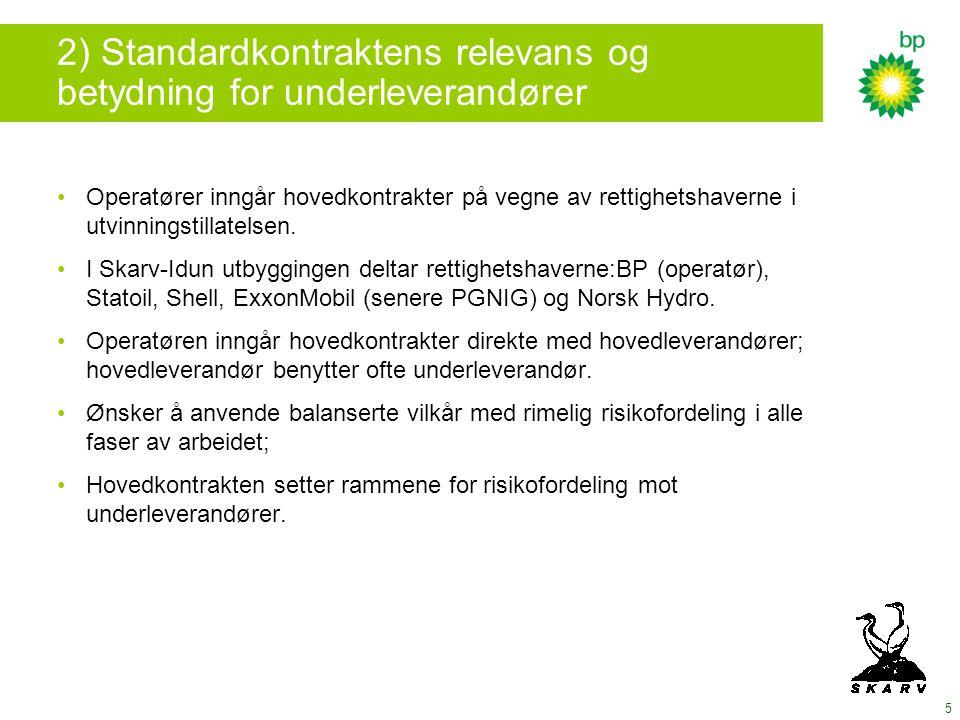 2) Standardkontraktens relevans og betydning for underleverandører