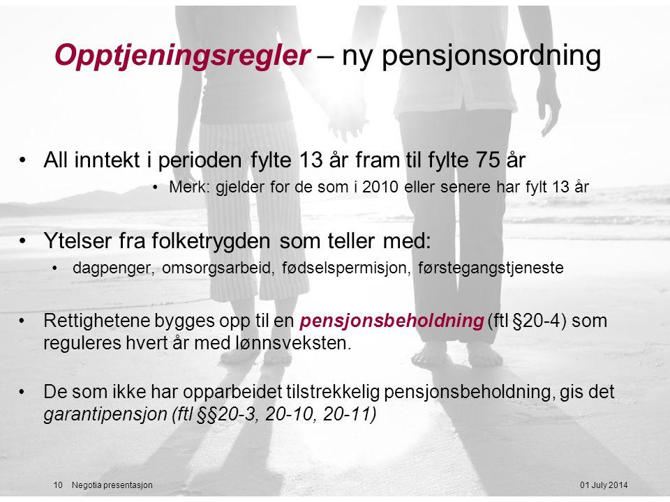 Opptjeningsregler – ny pensjonsordning