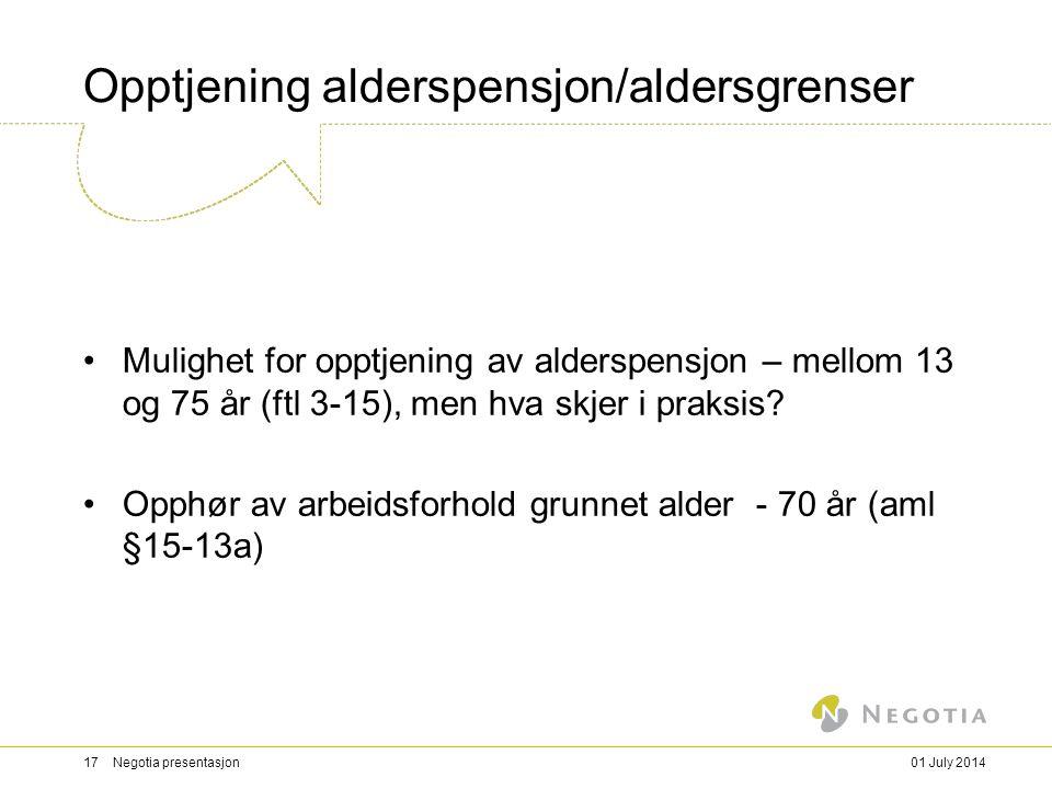 Opptjening alderspensjon/aldersgrenser