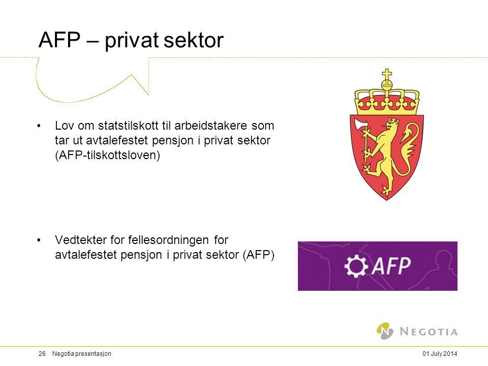 03/04/2017 AFP – privat sektor. Lov om statstilskott til arbeidstakere som tar ut avtalefestet pensjon i privat sektor (AFP-tilskottsloven)