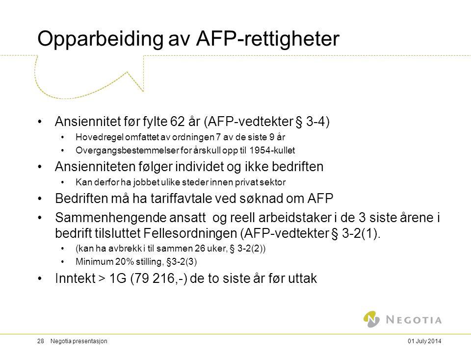 Opparbeiding av AFP-rettigheter